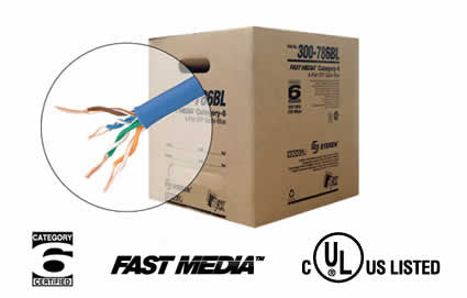 1000' 4 Pair Cat6 UTP UL CMR Cable - BL, WH, OR, GR, GY, YL (300-789)