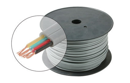 1000' 4C Flat Modular Cable - Black or Silver (300-840)