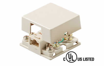 4-Conductor 2-Tel Surface Jack UL - Ivory or White (301-146)