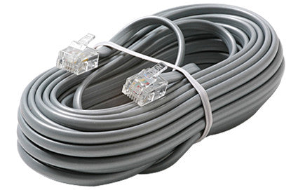 7' 6C Telephone Line Cord - Silver (306-007)