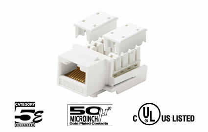 Cat5e RJ45 Punch Down Keystone Jack 90å¡ - Multiple Colors (310-120)