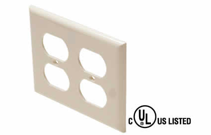 Standard Dual Gang Duplex Wall Plate - Ivory or White (310-822)