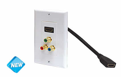 Standard HDMIå¨ Pigtail + 3-RCA Jack (R/G/B) Wall Plate - Ivory or White (526-117)