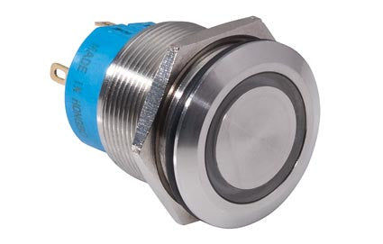 Switch push with round metal button and lighting, normally open or normally closed (AU-120)