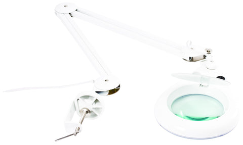 Low-Consumption Lamp with Magnifying Glass, Clamp and 18in Flexible Arm - Black/White (HER-740)