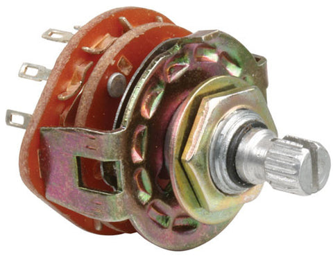 125 VAC, 350 mA, 2 poles / 5 throws, 0.51 in (1.3 cm) grooved shaft, rotary switch (2P 5T)
