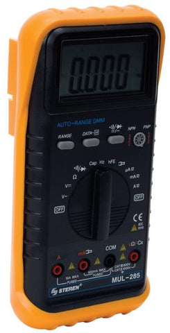 Auto-range digital multimeter with audible continuity tester, transistor, capacitance and temperature (MUL-285)