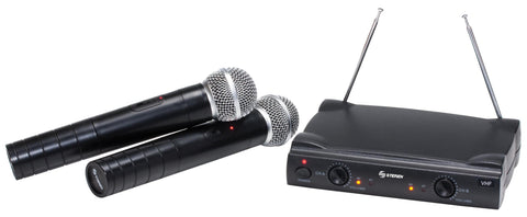 Professional System of Two VHF Wireless Microphones with Receiver (WR-055)