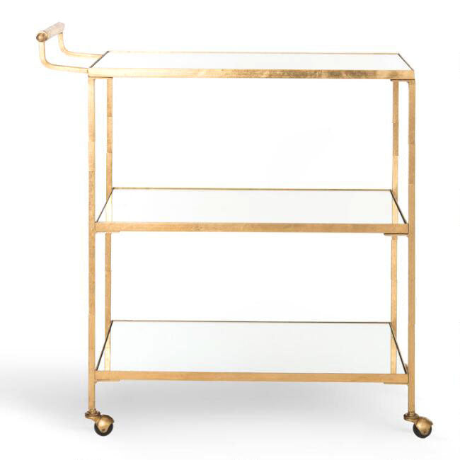 Steel Gold and Glass Cart