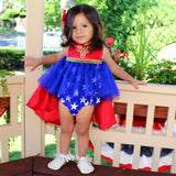 Super Hero Tutu Sparkle Romper with Cape - WW - Belle Threads