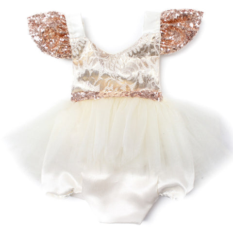 Rose Gold & Brocade Tutu Sparkle Romper - Belle Threads