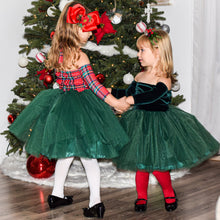Load image into Gallery viewer, Christmas Plaid Nova Off the Shoulder Tutu Dress