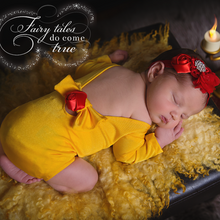 Load image into Gallery viewer, Royal Baby Princess - Bow & Rose Yellow Belle Princess Romper