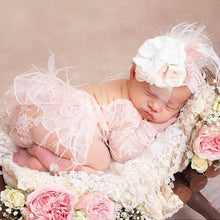 Load image into Gallery viewer, Newborn Lace Feathers Romper