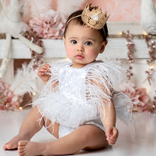 Load image into Gallery viewer, Wild Swan White Glam Tutu Romper