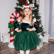 Load image into Gallery viewer, Winter Green Nova Off the Shoulder Tutu Dress Santa Nova Dress