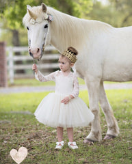 Ivory Lace Tutu Dress Flower Girl Dress Ivory Lace Dress - Belle Threads