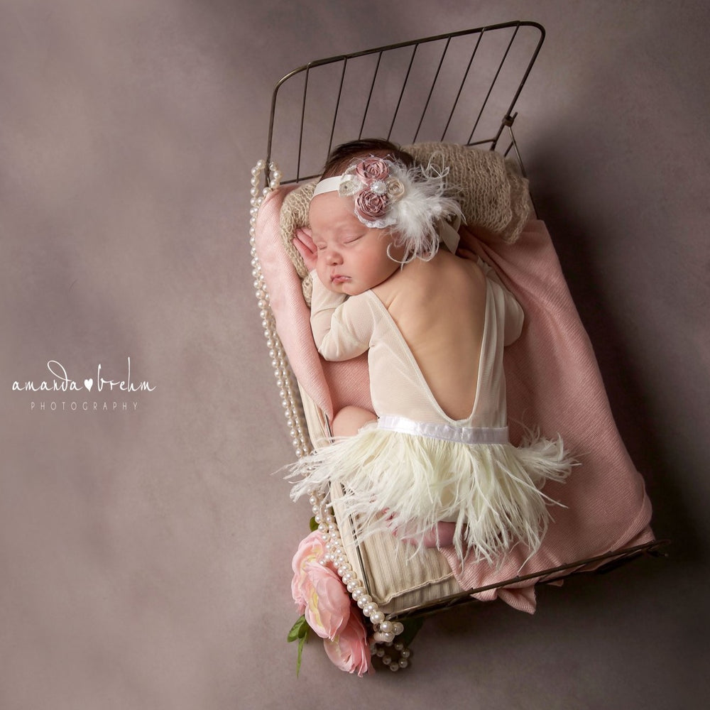 Ooh La La Ivory Feather Newborn Romper with  Feather Headband