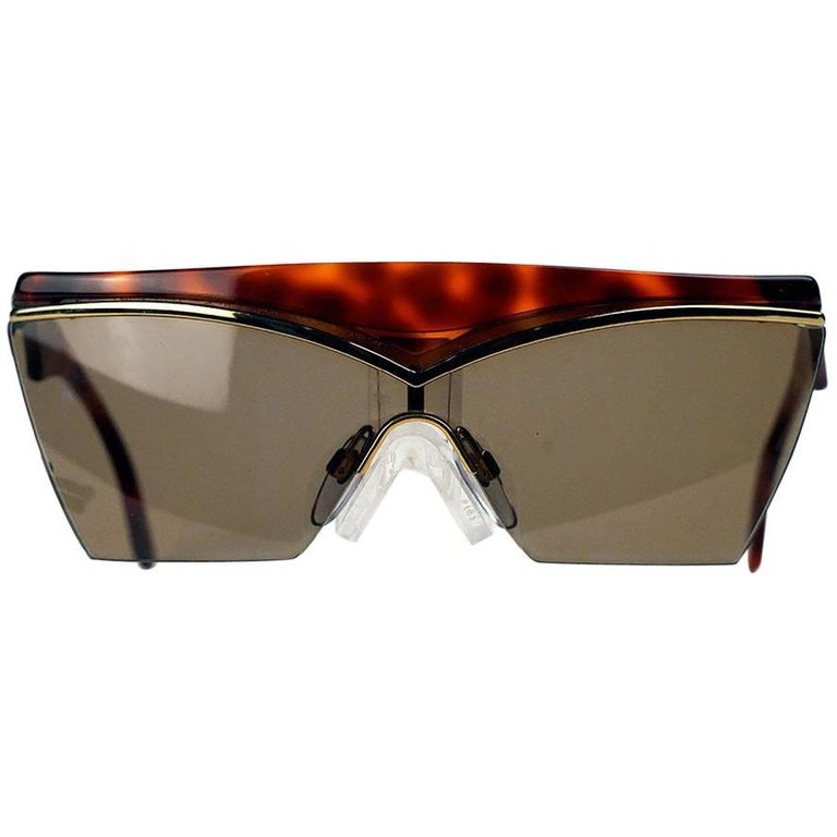 Yves Saint Laurent Tortoise Shield Frame Vintage Sunglasses