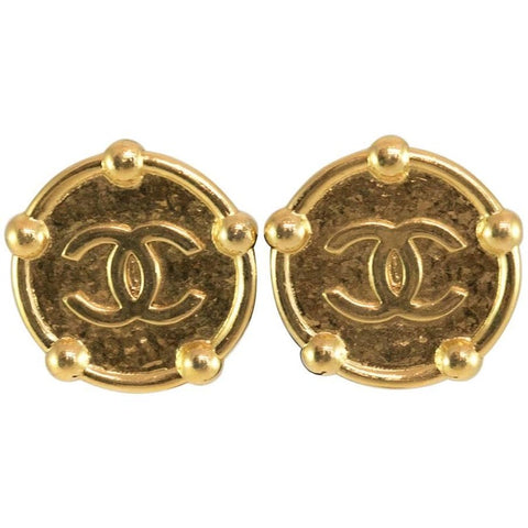 Chanel 1980's Gold Tone Quilted Drop Clip Earrings