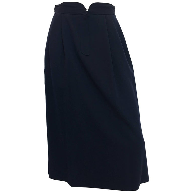 Gucci 1970's Navy Gabardine Wool Pleated Skirt
