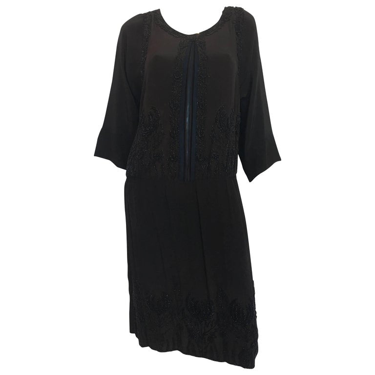 1920's Vintage Beaded Silk Crepe Flapper Dress