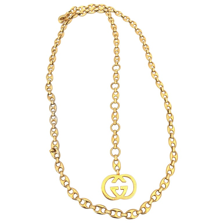 Gucci 1970's Gold Tone Mariner Link Chain Belt
