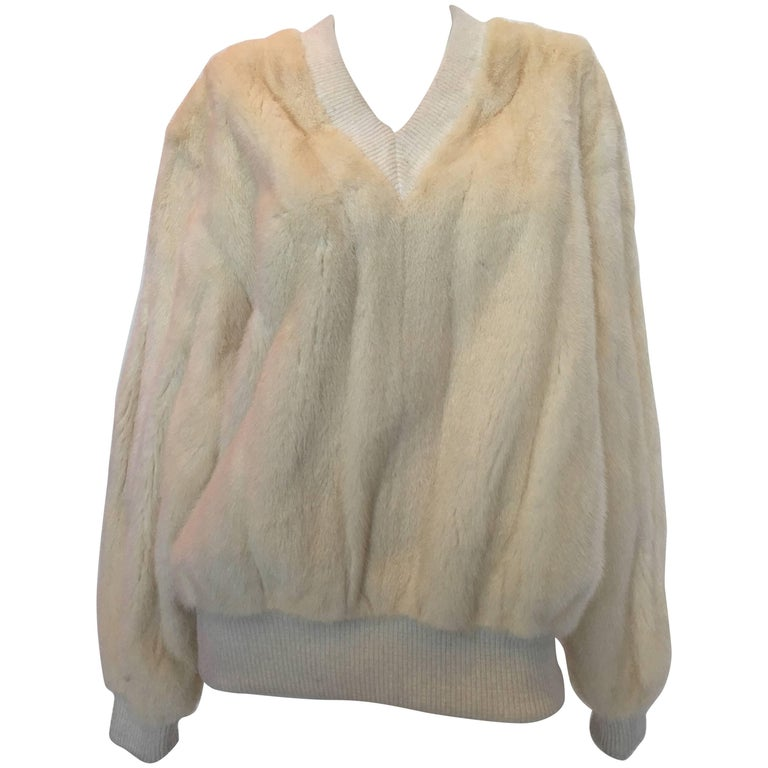 Mr Blackwell 1960's White Mink V Neck Sweater