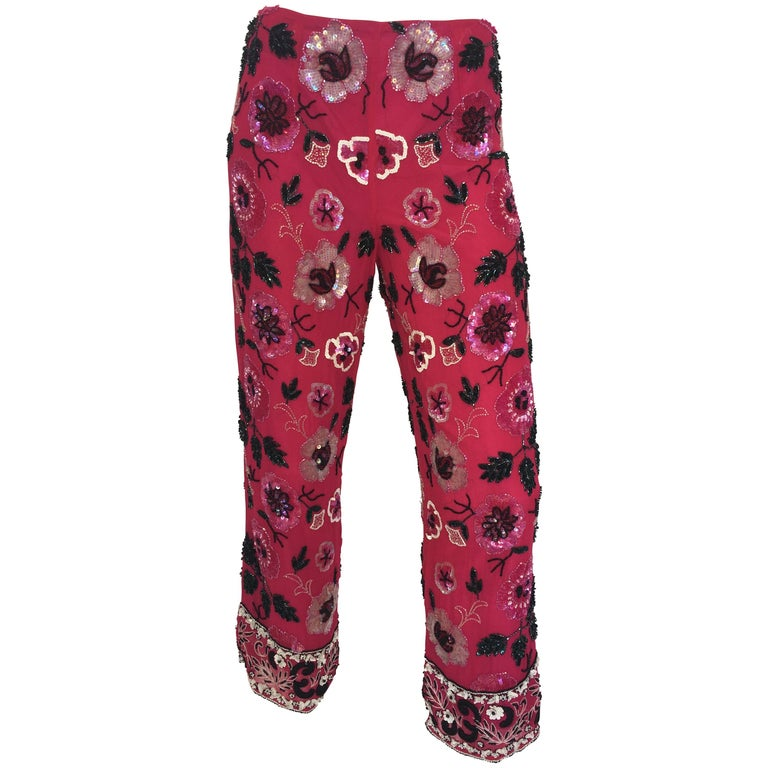 Cache 1980's Fuschia Floral Beaded Silk Cropped Lounge Pants