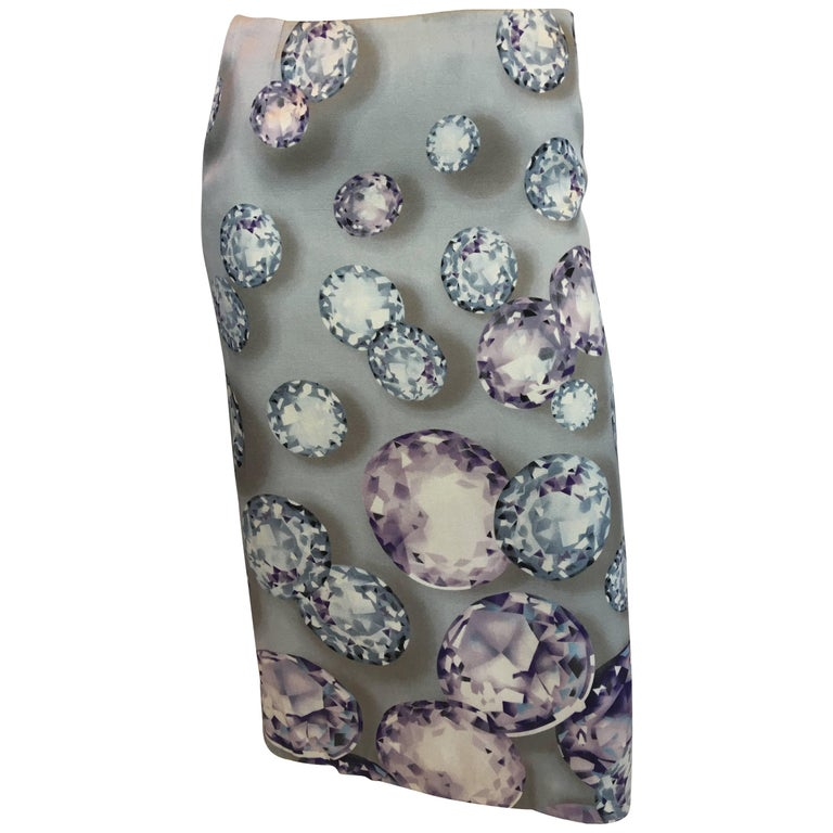 Gianni Versace Diamond Print Silk Pencil Skirt