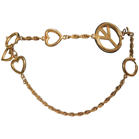 Chanel 1980's Gold Tone Metal Round Disk Chain Belt
