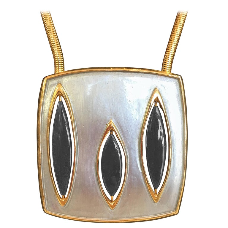 Pierre Cardin Mid-Century Modern Gold Tone and Enamel Necklace