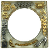 Chanel Square Lucite Bangle with Classic Chanel Gold and Silver Inlaid Charms