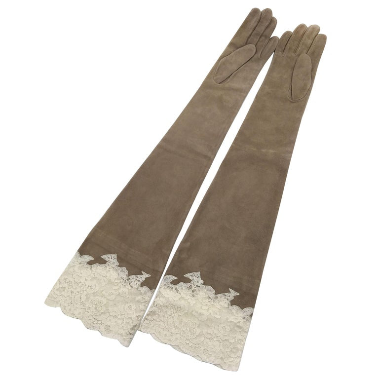 Christian Dior Tan Suede and Lace Trimmed Elbow Length Gloves NWT