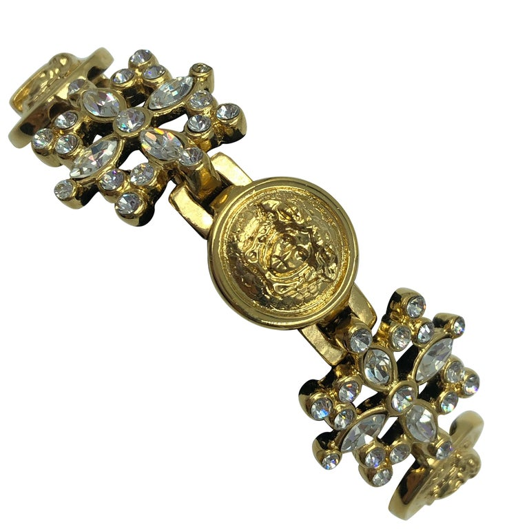 Versace Medusa Head with Rhinestone & Gold Tone Cocktail Bracelet