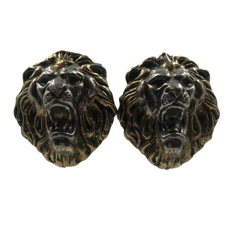 1980's Sterling Silver Lion Face Clip On Earrings