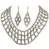 1970's Sterling Silver 925 Linked Collar and Earring Set