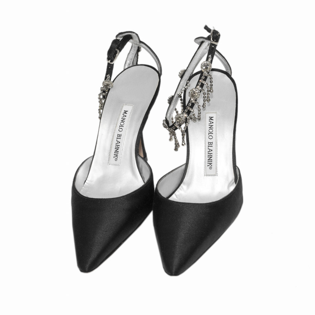 Manolo Blahnik Black Satin Pointy Toe Heel With Rhinestone Loop Ankle Strap