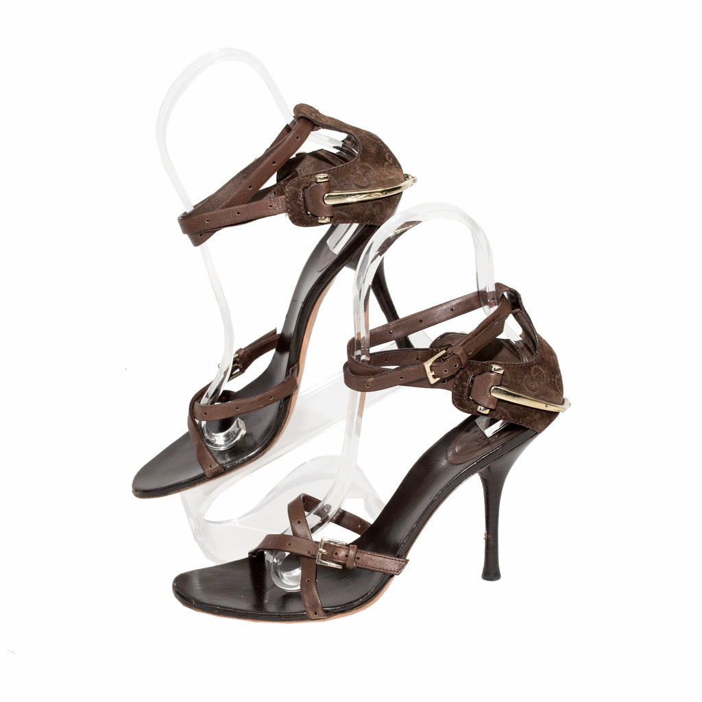 Gucci Brown Sandal With Stirrup Around Back Heel
