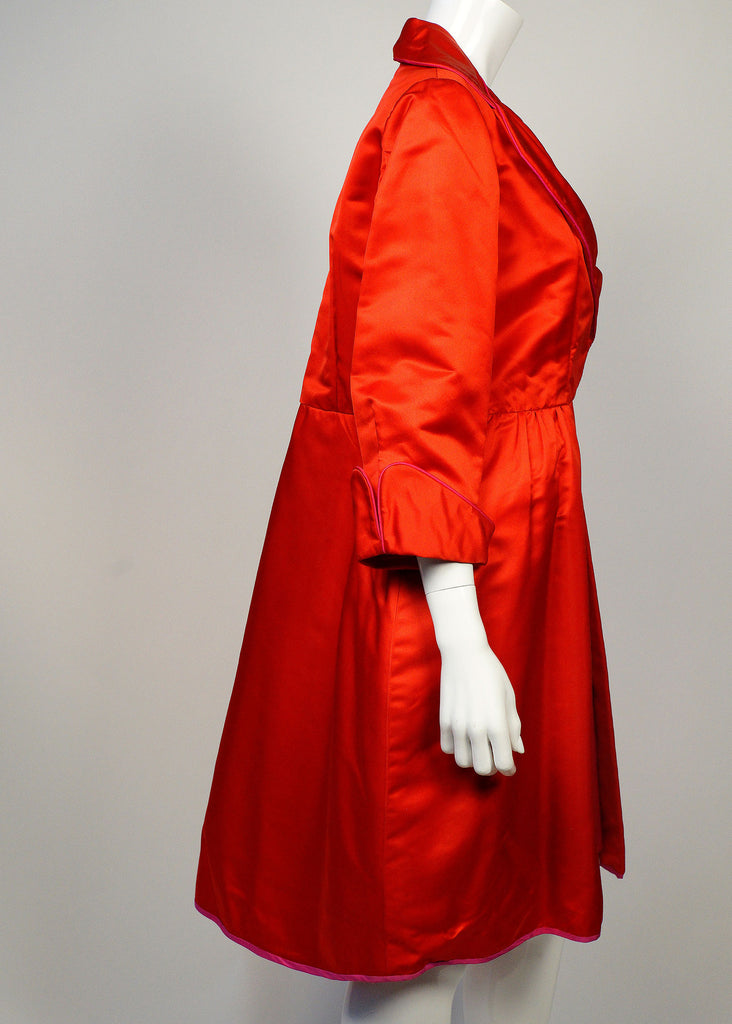 Red Satin Custom 1960's Coat Dress
