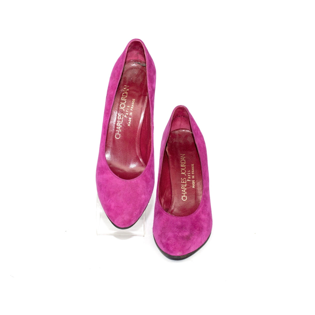 Charles Jourdan Magenta Suede Pumps