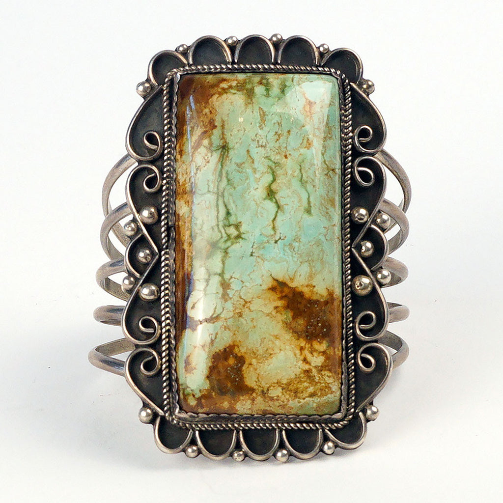 Green Turquoise Sterling Silver Cuff