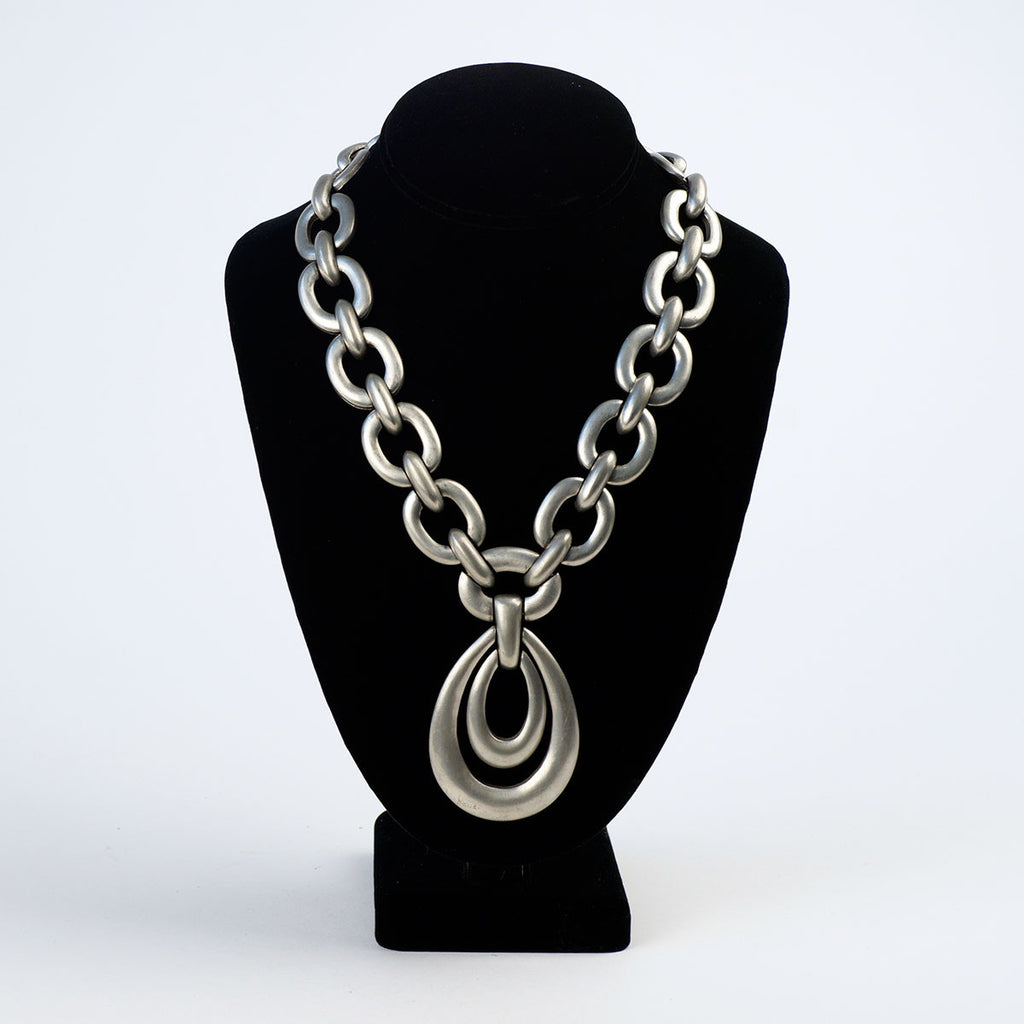 Hobe Silver Metal Chain Link Necklace