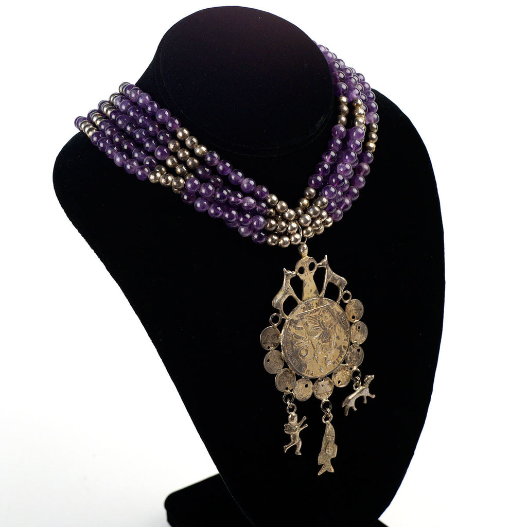 Amethyst Beaded Vintage Necklace with Peruvian Coin