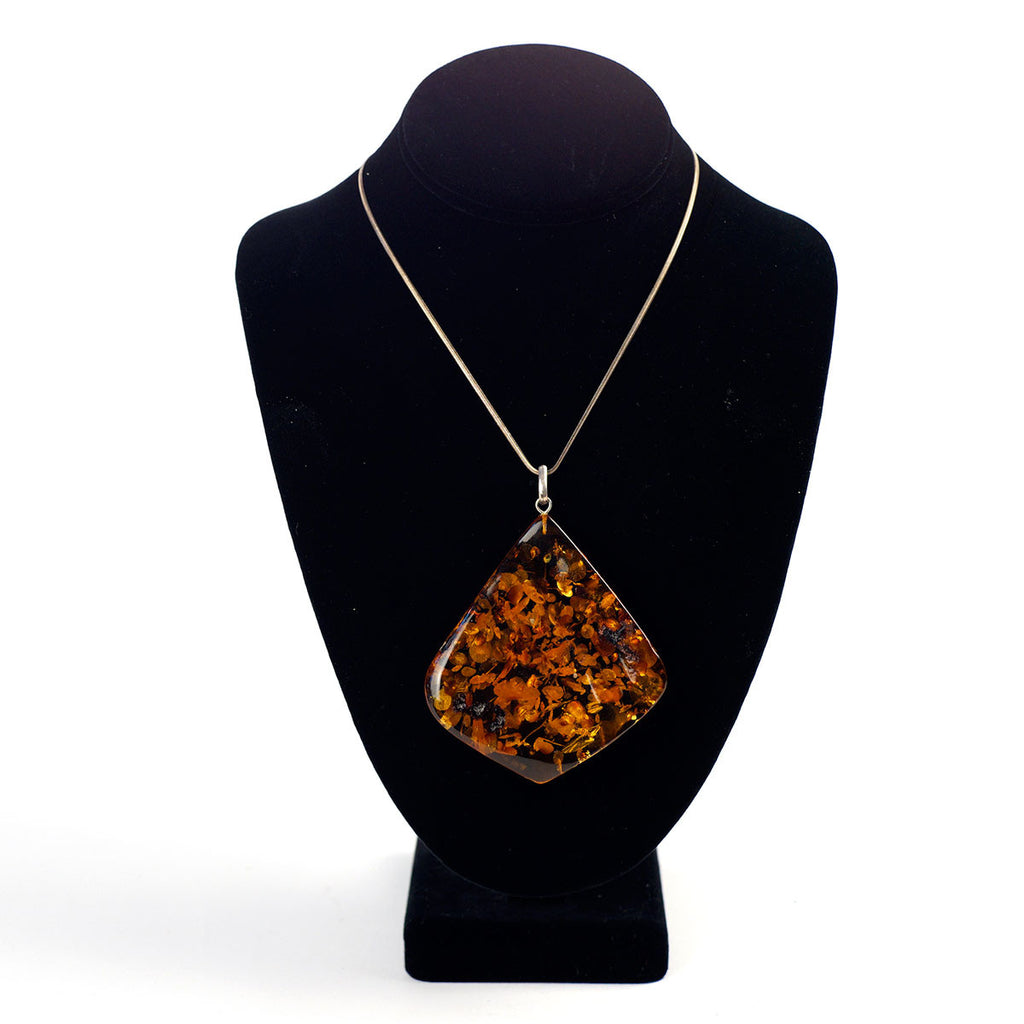 Sterling Silver Amber Stone Necklace