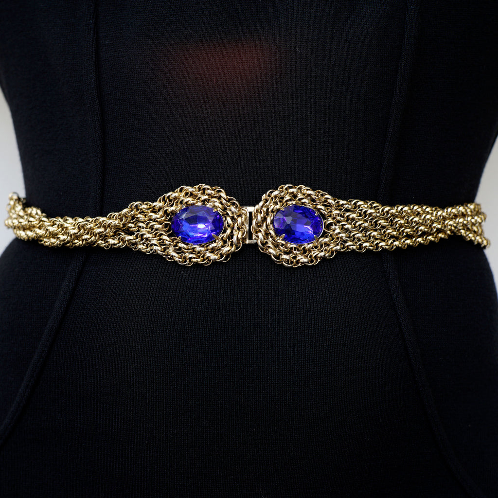 Blue Glass Stone Gold Twist Belt