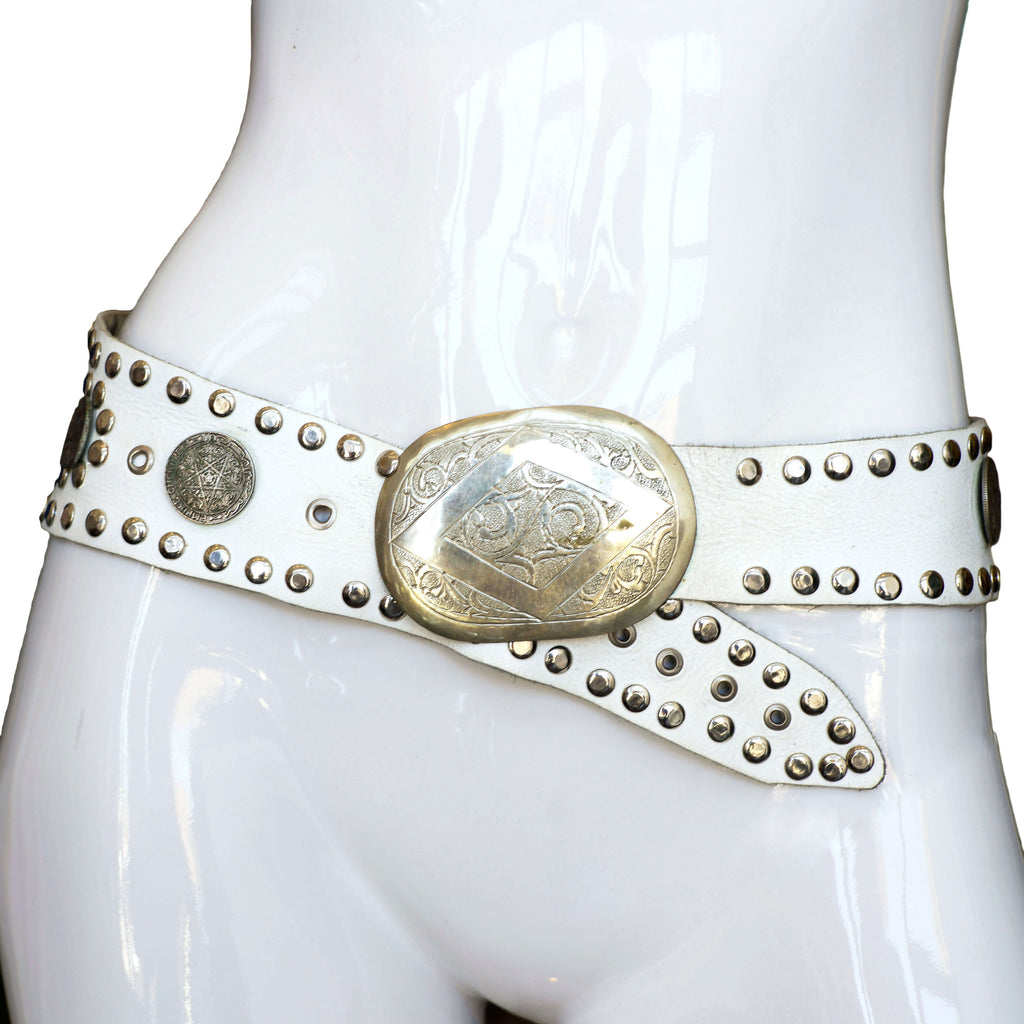 White Leather Moroccan Belt