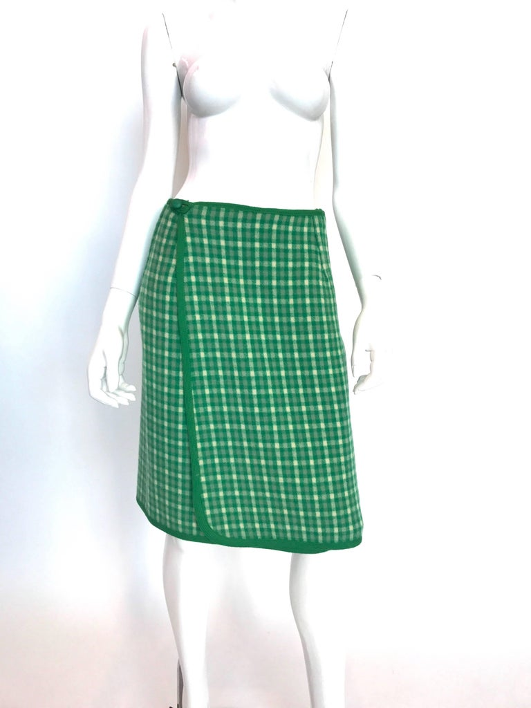 1960's Weatherall Green & White Check Reversible Wool Capelet & Skirt Set