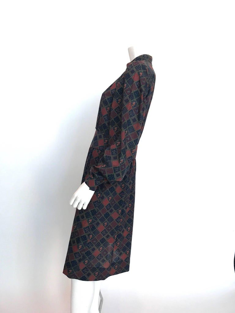 Givenchy 1970's Wool Dress with Nehru Collar