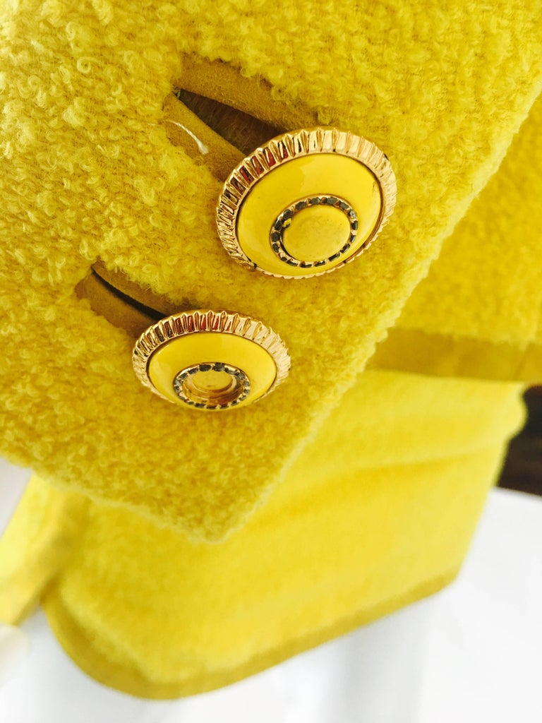 Gianni Versace Yellow Nubby Knit 2 Pc Skirt Suit